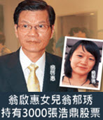 翁啟惠女兒翁郁琇持有3000張浩鼎股票-台灣e新聞