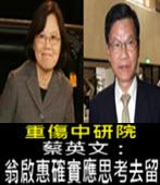 重傷中研院 蔡英文:翁啟惠確實應思考去留 -台灣e新聞