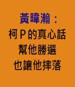 黃暐瀚:柯P的真心話,幫他勝選也讓他摔落-台灣e新聞