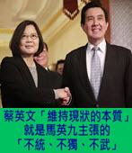 蔡英文「維持現狀的本質」就是馬英九主張的「不統、不獨、不武」- 台灣e新聞