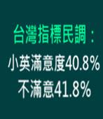 台灣指標民調:小英滿意度40.8%、不滿意41.8%-台灣e新聞