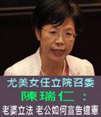 尤美女任立院召委 陳瑞仁:老婆立法 老公如何宣告違憲-台灣e新聞