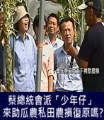 蔡總統一個禮拜內會派「少年仔」來助瓜農私田農損復原嗎? -台灣e新聞