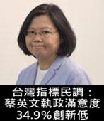 台灣指標民調:蔡英文執政滿意度34.9%創新低- 台灣e新聞