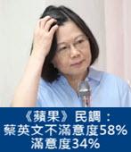 《蘋果》民調:蔡英文不滿意度58% 滿意度34% -台灣e新聞