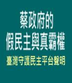 蔡政府的假民主與真霸權(臺灣守護民主平台聲明) - 台灣e新聞
