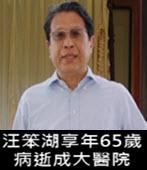 汪笨湖上午病逝成大醫院 享年65歲-台灣e新聞