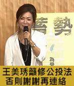 王美琇籲修公投法 否則謝謝再連絡 - 台灣e新聞