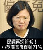 民調再探新低!小英滿意度僅剩21%- 台灣e新聞