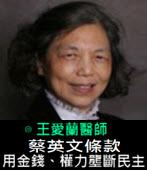 蔡英文條款——用金錢、權力壟斷民主 -◎王愛蘭醫師 -台灣e新聞