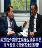 美眾院外委會主席晤世衛幹事長: 排斥台灣只會傷害全球健康- 台灣e新聞