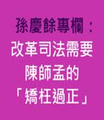 孫慶餘專欄:改革司法需要陳師孟的「矯枉過正」-台灣e新聞