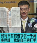 對柯文哲提告求償一千萬 吳祥輝:我是自己的打手 -台灣e新聞