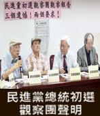 「民進黨總統初選觀察團」聲明  - 台灣e新聞