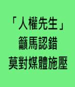 「人權先生」籲馬認錯 莫對媒體施壓 - 編譯洪聖斐 -台灣e新聞