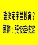 誰決定宇昌投資?蔡辦:張俊雄核定 -台灣e新聞