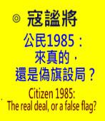公民1985:來真的,還是偽旗設局? Citizen 1985: The real deal, or a false flag?-Author: Michael Cole 寇謐將-台灣e新聞