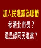加入民進黨為哪樁?參選北市長?還是認同民進黨?-台灣e新聞