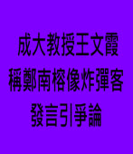成大教授王文霞稱鄭南榕像炸彈客 發言引爭論-台灣e新聞